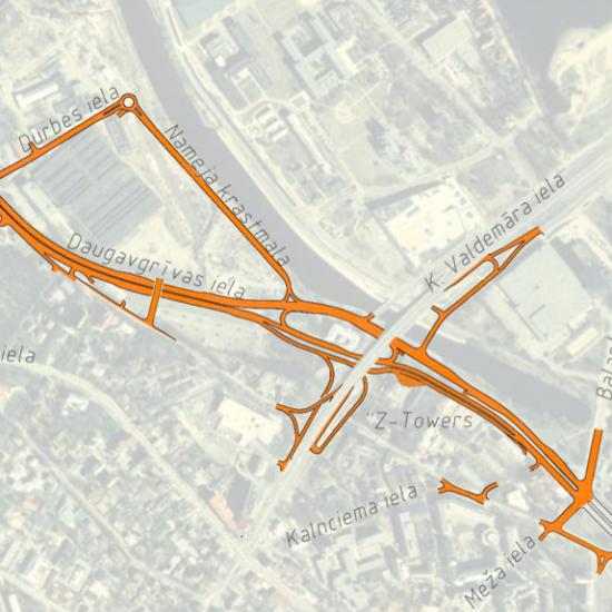 Krišjāņa Valdemāra un Daugavgrīvas ielas divlīmeņu krustojums